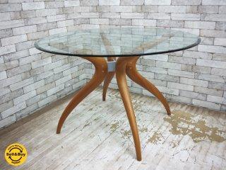 ポラダ porada レトロ1 RETRO1 DINING TABLE ガラステーブル ダイニングテーブル W120 チェリー材 イタリアンモダン ●