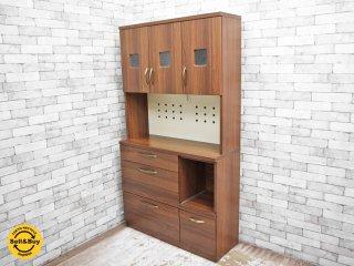 ノーチェ NOCE CARREAW2 キッチンキャビネット 食器棚 オーシャンナット 北欧風 ●