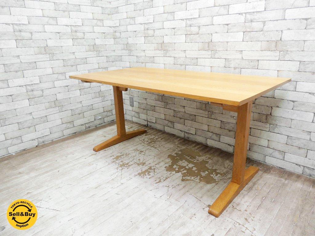 シンプルデザイン ダイニングテーブル オーク材 ナチュラルスタイル ●