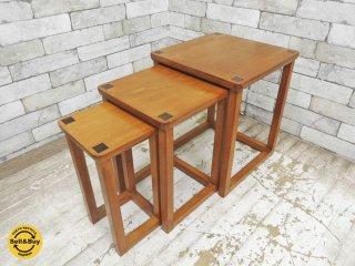 チーク材 ネストテーブル 入れ子式 木象嵌●