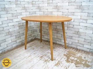 ウニコ unico アルベロ ALBERO オーバル カフェテーブル チーク材 レトロデザイン カフェスタイル ●