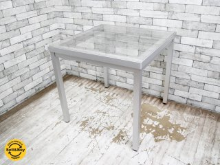 モダンデザイン ガラストップ ダイニングテーブル アルミレッグ A ●
