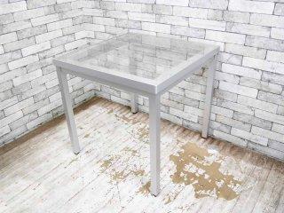 モダンデザイン ガラストップ ダイニングテーブル アルミレッグ B ●
