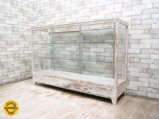 ジャパンビンテージ Japan Vintage ガラスショーケース ウッドフレーム 白ペイント シャビーシック ●