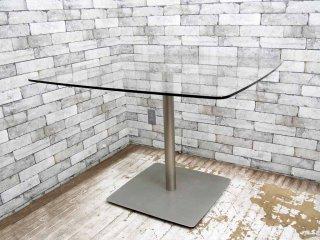 モダンデザイン ガラス天板 ダイニングテーブル ●