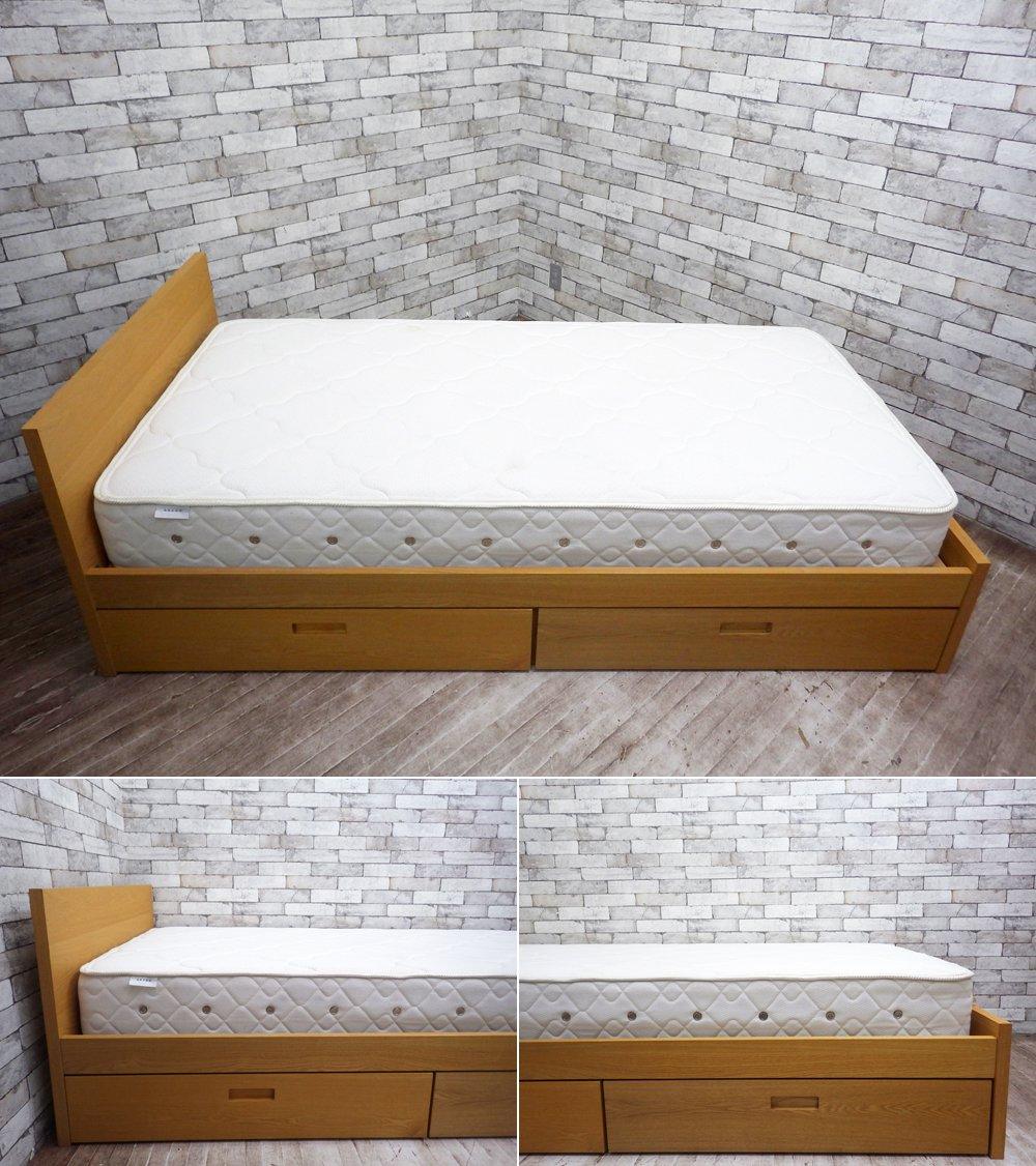 ウニコ unico ヒュッテ HUTTE シングルサイズ ベッドフレーム + マットレス付き オーク材 ナチュラルクラフト家具 ●