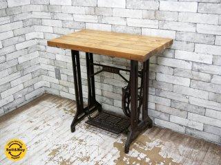 無垢材天板 × ビンテージリッカーミシン脚 テーブル デスク RICCAR 脚踏み リメイク 工業系 インダストリアル ●