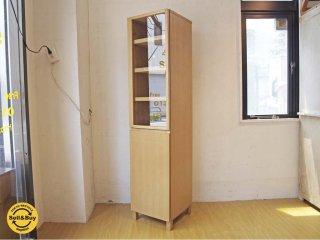 無印良品 MUJI タモ材 組み合わせて使える木製収納 スリム キャビネット カップボード ガラス扉 木製扉 ★