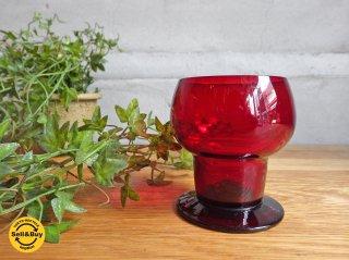ヌータルヤルヴィ Nuutajarvi ヴィンテージ ワイングラス Wineglass 1111 カイ・フランク Kaj Franck 1953-57年 レッド ♪