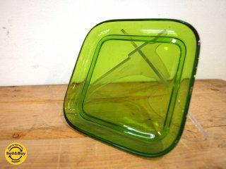 ヌータヤルヴィ Nuutajarvi #5269 ガラスプレート Glass plate スクエア シンプル グリーン カイ・フランク Kaj Franck A ★