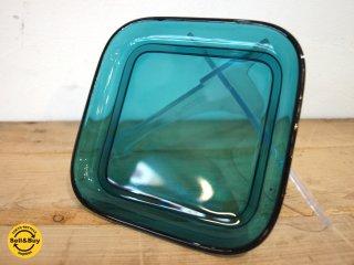 ヌータヤルヴィ Nuutajarvi #5269 ガラスプレート Glass plate スクエア シンプル ターコイズ カイ・フランク Kaj Franck A ★