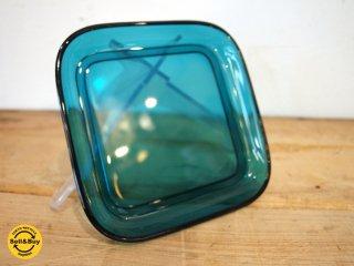 ヌータヤルヴィ Nuutajarvi #5269 ガラスプレート Glass plate スクエア シンプル ターコイズ カイ・フランク Kaj Franck B ★