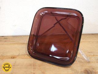 ヌータヤルヴィ Nuutajarvi #5269 ガラスプレート Glass plate スクエア シンプル パープル カイ・フランク Kaj Franck A ★