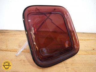 ヌータヤルヴィ Nuutajarvi #5269 ガラスプレート Glass plate スクエア シンプル パープル カイ・フランク Kaj Franck B ★