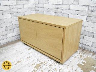 無印良品 MUJI スタッキングキャビネット オーク材 木製扉付き AVボード テレビ台 幅82.5cm ●