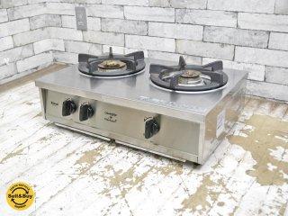 リンナイ Rinnai × クロワッサン Croissant 2口 ガステーブル ガス台 RTS-2CT-R LPガス用 ステンレスボディ 廃盤希少 ●