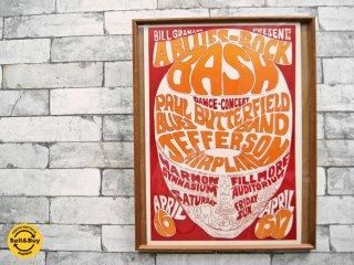 """ビル・グレアム Bill Graham フィルモア オーディトリアム サイケデリック ポスター """" A BLUES-ROCK BASH """" 1966年 ビンテージ オリジナル ●"""