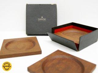ダンスク DANSK コースター チーク材 4枚セット ビンテージ 北欧食器 箱付き ●