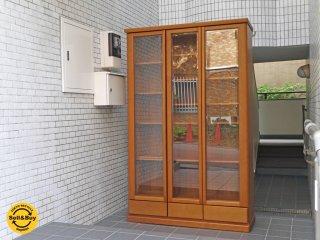 チーク材 ブックシェルフ 本棚 キャビネット ガラス扉 引き出し付 北欧ビンテージスタイル ■