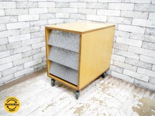 オーダー家具 デスクワゴン サイドチェスト ビーチ材×ブリキ 3段ドロワー ●
