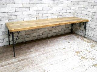 インダストリアルスタイル 杉材 × アイアン ローテーブル B ●