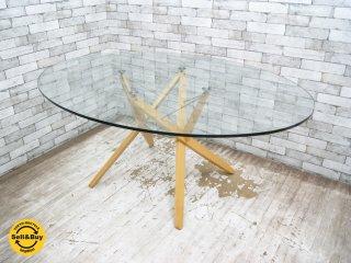 ザノッタ Zanotta オリオン ORIONE オーバル ダイニングテーブル ガラス天板 Roberto Barbieri イタリアモダンデザイン ●