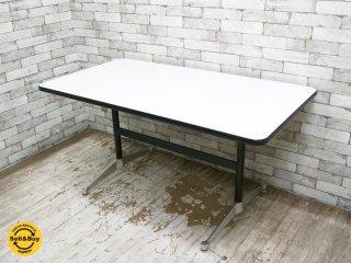 ハーマンミラー HermanMiller コントラクトテーブル ダイニングテーブル デスク レクタングル ホワイト w140cm C&R イームズ ミッドセンチュリー ●