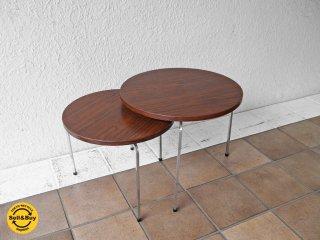 ハイク HIKE取扱 デンマーク ビンテージ ローズウッド ラウンド ネストテーブル サイドテーブル 北欧家具 60's~70's ◇