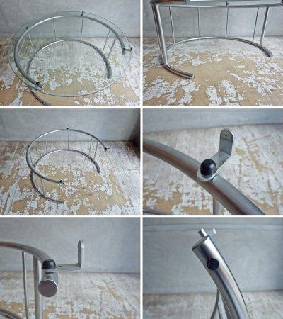 フクラ HUKLA TMRC センターテーブル Mサイズ サイドテーブル ガラストップ スチールパイプ ♪