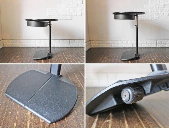 イタリアンモダンデザイン ラウンド リフティングテーブル サイドテーブル 収納トレイ キャスター付き ブラック ◎