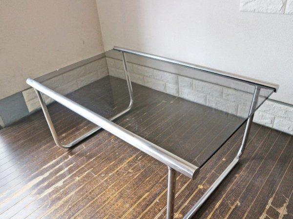ビンテージ スチールフレーム ガラス テーブル スペースエイジ ◎