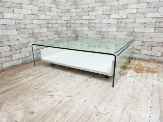 モダンスタイル ガラス センターテーブル キャスター引き出し付 ●