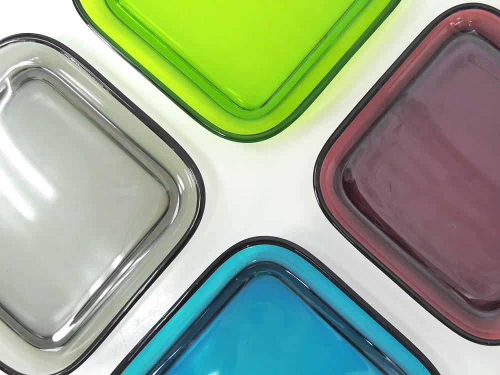 ヌータヤルヴィ Nuutajarvi #5269 ガラスプレート Glass plate スクエア パープル カイ・フランク Kaj Franck ●