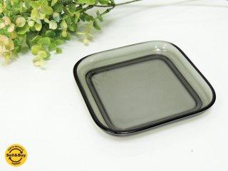 ヌータヤルヴィ Nuutajarvi #5269 ガラスプレート Glass plate スクエア グレー カイ・フランク Kaj Franck ●