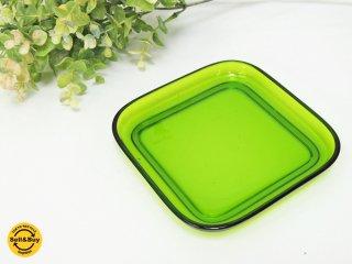 ヌータヤルヴィ Nuutajarvi #5269 ガラスプレート Glass plate スクエア グリーン カイ・フランク Kaj Franck A ●