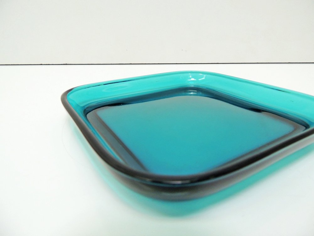 ヌータヤルヴィ Nuutajarvi #5269 ガラスプレート Glass plate スクエア ターコイズ カイ・フランク Kaj Franck A ●