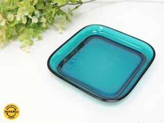 ヌータヤルヴィ Nuutajarvi #5269 ガラスプレート Glass plate スクエア ターコイズ カイ・フランク Kaj Franck B ●