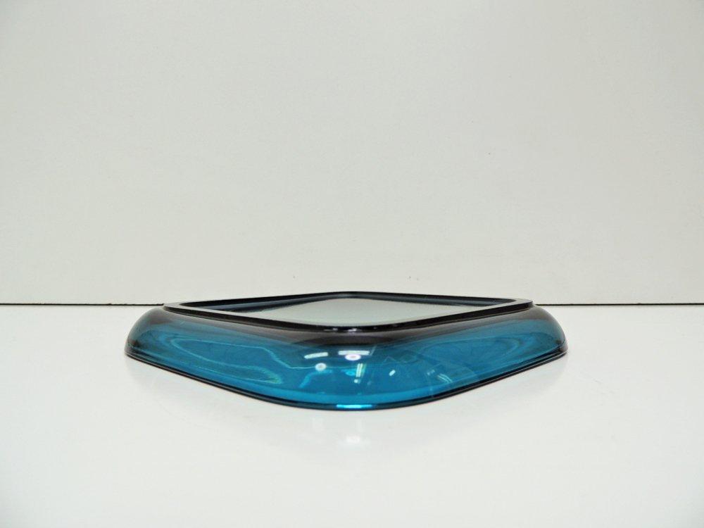 ヌータヤルヴィ Nuutajarvi #5269 ガラスプレート Glass plate スクエア ターコイズ カイ・フランク Kaj Franck C ●