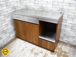 ウニコ unico ストラーダ STRADA キッチンカウンター ステンレス × アッシュウッド 幅120cm スタイリッシュモダン ●