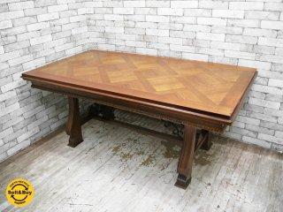 スペインアンティーク Spanish antique 伸長式 ダイニングテーブル ヘリンボーン ●