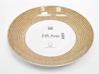 アラビア ARABIA 24h アベック avec パスタプレート ブラウン 24cm 旧ロゴ 未使用品 A ●