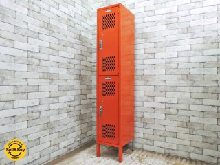 リオン LYON スチールロッカー 2段 2-TIER LOCKER オレンジ ダイヤカット P.F.S.取扱い インダストリアル ●