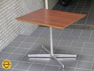 ディーアンドデパートメント D&DEPARTMENT カフェテーブル Cafe Table ローズウッド調天板 クロームメッキ X脚 ミッドセンチュリー ■
