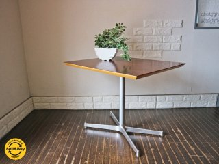 ディーアンドデパートメント D&DEPARTMENT カフェテーブル Cafe Table ローズウッド調天板 クロームメッキ X脚 ミッドセンチュリー ◎