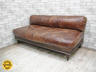 ジャーナルスタンダードファニチャー journal standard Furniture ナンシー NANCY レザーソファ 牛革 フェザークッション W175cm ●