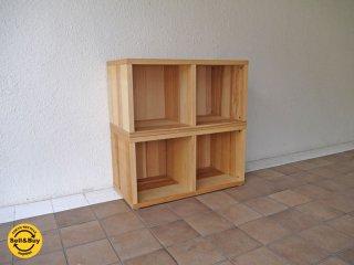 ナチュラルスタイル Natural style 木製 2段2列 ブックシェルフ 本棚 ディスプレイラック 飾り棚 ◇