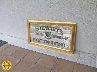 ビンテージ STEWART'S FINEST SCOTCH WHISKY パブミラー 木製 ミラー バドワイザー Budweiser 壁掛け 飾り ディスプレイ 鏡 インテリア 店舗什器 ◇