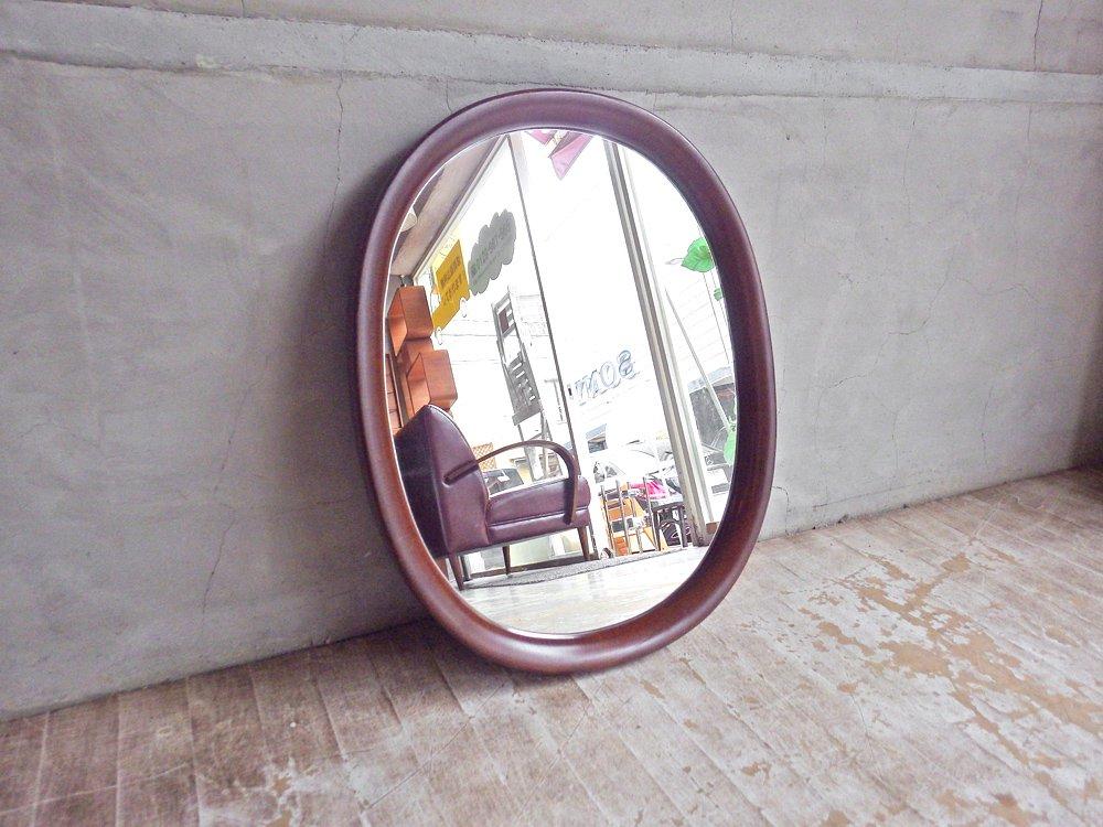 秋田木工 Akimoku 曲木鏡 ウォールミラー 小判型 壁掛け鏡 ブナ材 柳宗理 デザイン 古代色♪