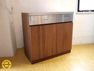 ウニコ unico ストラーダ STRADA キッチンカウンター オーダー品 扉仕様 タモ無垢材 ステンレス天板 幅90cm ★