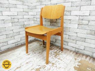 天童木工 TENDO ブックチェア ダイニングチェア S-0507NA-NT 板座 水之江忠臣 図書館椅子 A ●